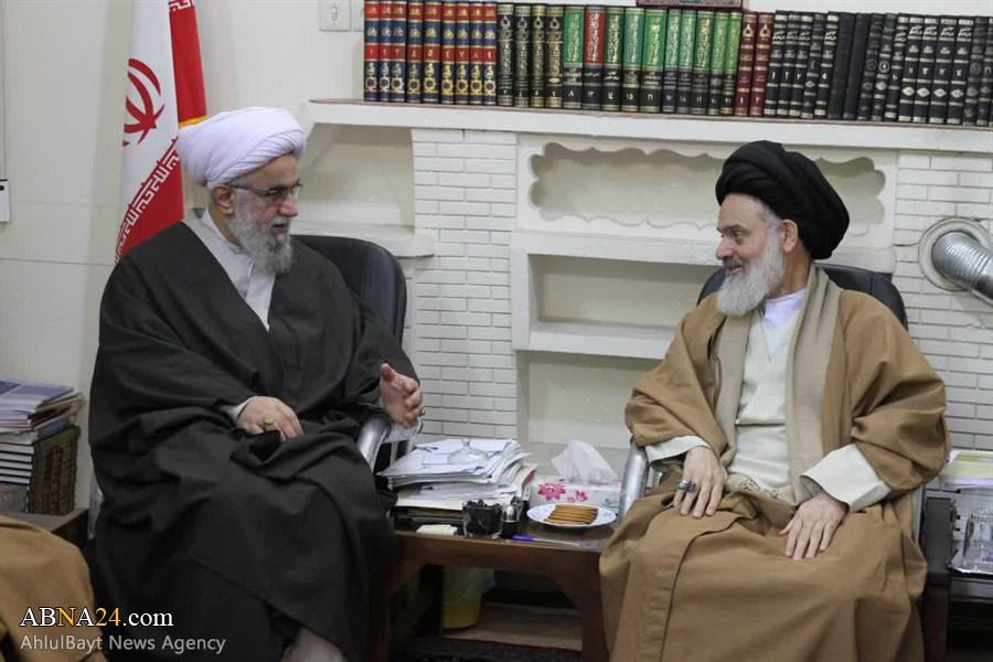 دیدار دبیرکل مجمع جهانی اهل بیت(ع) و هیئت همراه با آیت الله حسینی بوشهری