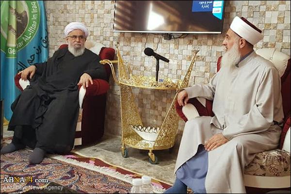 تصویری رپورٹ/ اہل بیت(ع) عالمی اسمبلی کے سیکرٹری جنرل کی عراق کے مفتی اعظم سے ملاقات