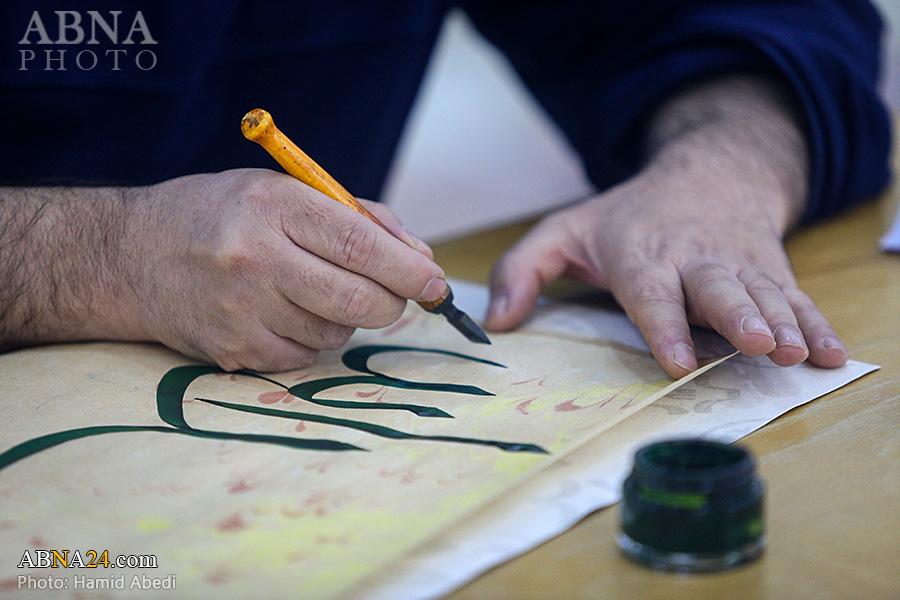 گزارش تصویری/ هم نویسی استادان خوشنویسی به مناسبت